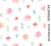 watercolor floral pattern | Shutterstock . vector #305848769