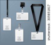 lanyard  retractor and badge.... | Shutterstock .eps vector #305851817