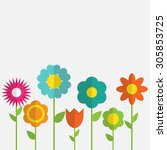 paper trendy flat flower set... | Shutterstock .eps vector #305853725