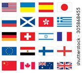 set of 20 flags of different... | Shutterstock .eps vector #305868455