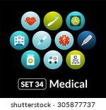 flat icons vector set 34  ... | Shutterstock .eps vector #305877737