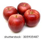 ripe red apple isolated on... | Shutterstock . vector #305935487
