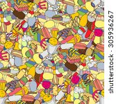 seamless pattern with ice cream | Shutterstock . vector #305936267