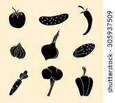 set of vegetables icons. | Shutterstock . vector #305937509