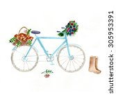 Watercolor Gentle Bicycle With...