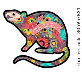 greeting card with colorful rat.... | Shutterstock .eps vector #305957831