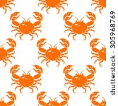 seamless pattern with orange... | Shutterstock .eps vector #305968769
