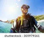 Smiling Scuba Diver Portrait At ...