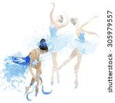 watercolor ballerinas dancing | Shutterstock . vector #305979557