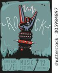 rock poster with a hand. design ... | Shutterstock .eps vector #305984897