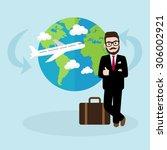 hipster businessman on business ... | Shutterstock .eps vector #306002921