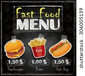 menu on the blackboard | Shutterstock .eps vector #306005159