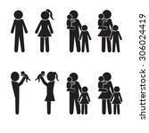family icons set  happy family... | Shutterstock .eps vector #306024419