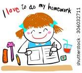 cute girl do her homework... | Shutterstock .eps vector #306032711