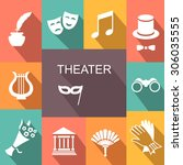 theater acting  icons set white ... | Shutterstock .eps vector #306035555
