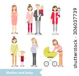 mother and baby. pregnant woman.... | Shutterstock . vector #306037739
