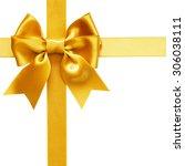 single gift bow  golden satin ... | Shutterstock . vector #306038111