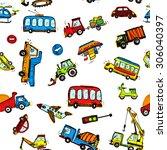 funny cars. kids seamless... | Shutterstock .eps vector #306040397