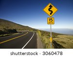 curvy road sign in haleakala... | Shutterstock . vector #3060478