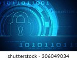 safety concept  closed padlock... | Shutterstock . vector #306049034