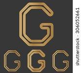 bronze line g logo design set