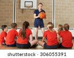 coach giving team talk to... | Shutterstock . vector #306055391