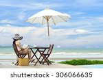 young woman reading a book at... | Shutterstock . vector #306066635