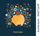 piggy bank concept design on... | Shutterstock .eps vector #306071639