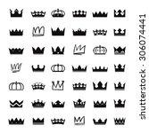 set of black vector crowns | Shutterstock .eps vector #306074441