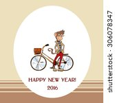 card with stylish hipster... | Shutterstock .eps vector #306078347