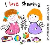 little girl sharing her toy to... | Shutterstock .eps vector #306084275