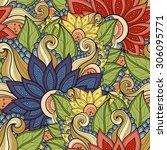 vector seamless floral pattern. ... | Shutterstock .eps vector #306095771
