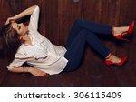 fashion photo of pretty female... | Shutterstock . vector #306115409