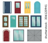 set of the various doors on the ... | Shutterstock .eps vector #306120941