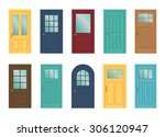 set of the various doors on the ... | Shutterstock .eps vector #306120947