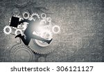 young businessman in suit... | Shutterstock . vector #306121127