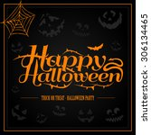 happy halloween orange letter... | Shutterstock .eps vector #306134465