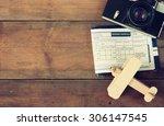 top view image of flying ticket ... | Shutterstock . vector #306147545