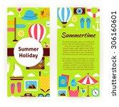 vector flyer template of summer ... | Shutterstock .eps vector #306160601