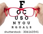 red spectacles focusing on text ... | Shutterstock . vector #306163541