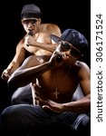 rap concert with two muscular... | Shutterstock . vector #306171524