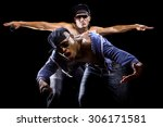 rap concert with two muscular... | Shutterstock . vector #306171581