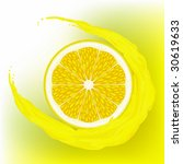 a lemon  with a wave juice on... | Shutterstock .eps vector #30619633