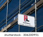 Small photo of Newbury, Northbrook Street, Berkshire, England - August 07, 2015: Scaffolding contractor sign over Camp Hobson renovation works to store frontage, company founded in 1921