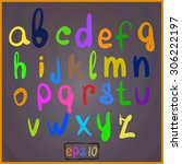 handwritten alphabet in bright... | Shutterstock .eps vector #306222197