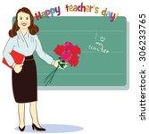 happy teacher day. template for ...   Shutterstock .eps vector #306233765