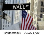 wall street sign with focus on...   Shutterstock . vector #306271739