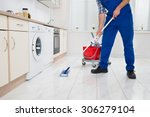 close up of worker cleaning... | Shutterstock . vector #306279104