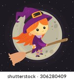 witch on a broomstick | Shutterstock .eps vector #306280409