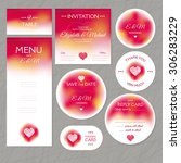 set of wedding cards vector... | Shutterstock .eps vector #306283229